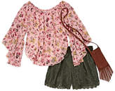 Knitworks Knit Works Allover Floral Woven Top with Crochet Short Set - Girls' 4-16 & Plus