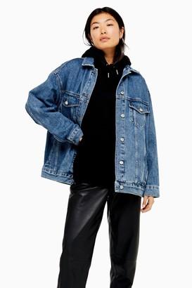 Topshop Womens Blue Denim Super Oversized Jacket - Mid Stone