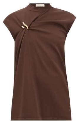Bottega Veneta Cap-sleeve Draped Jersey Top - Womens - Dark Brown