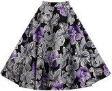 Eyekepper Women Pleated Vintage Skirts Floral Print Midi Skirt L
