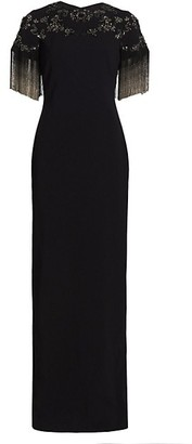 Pamella Roland Embellished Fringe Crepe Sheath Gown