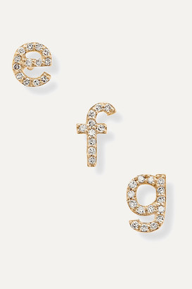 STONE AND STRAND Alphabet 14-karat Gold Diamond Earring