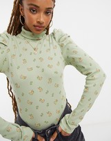 Thumbnail for your product : Monki Ronja organic cotton long sleeve high neck top in green