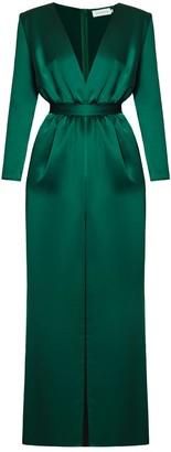 Undress Muza Green Satin Pink Deep V Neck Maxi Dress
