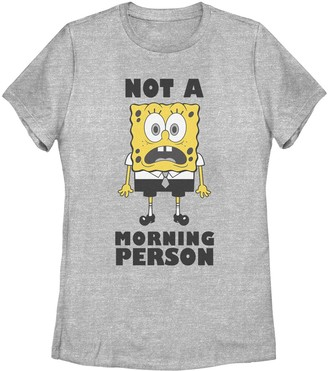 SpongeBob Squarepants Licensed Character Juniors' Not A Morning Person Tee