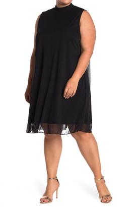 Tash + Sophie Mock Neck Chiffon Shift Dress