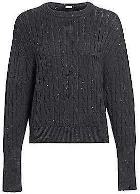 Brunello Cucinelli Women's Pailette Cashmere & Silk Cable Knit Sweater