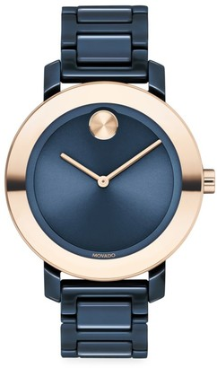 Movado Bold Evolution Ceramic & Rose Gold IP Bracelet Watch