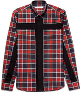 Givenchy Slim-Fit Button-Down Collar Panelled Checked Cotton-Twill Shirt