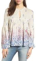 Lucky Brand Print Knit Peasant Top