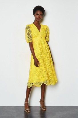 Karen Millen Cutwork Lace Short Sleeve Midi Dress