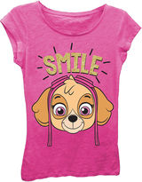 Asstd National Brand Paw Patrol Girls' Skye Smile Short Sleeve Graphic T-Shirt with Gold Glitter