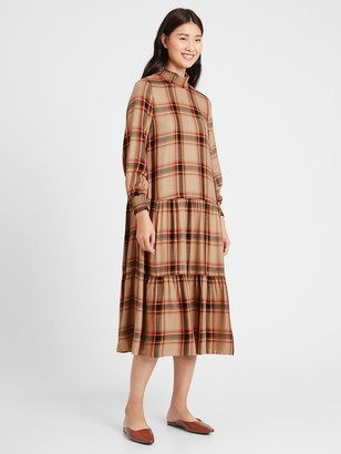 Banana Republic Flannel Tiered Midi Dress
