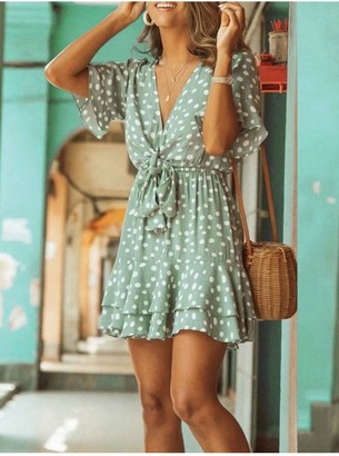 FS Collection Frill Skater Mini Dress In Mint With Spot Print