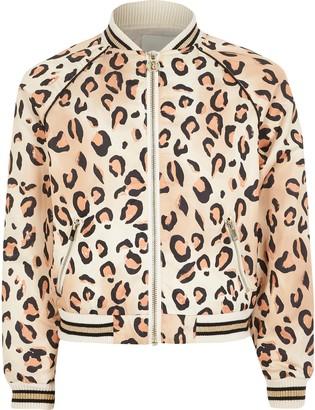 River Island Girls leopard print bomber jacket