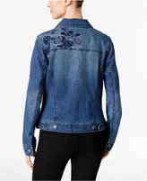 Style&Co. Style & Co Floral-Embroidered Denim Jacket, Only at Macy's