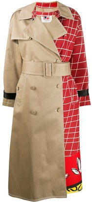 Ports 1961 Checkered-Panel Trench Coat
