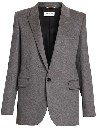 Saint Laurent Wool & Cashmere Flannel Single Button Jacket