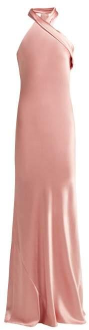Pandora Galvan Silk Satin Halterneck Gown - Womens - Light Pink