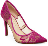 Jessica Simpson Vivid Orchid Camba Lace Pointed Toe Pumps