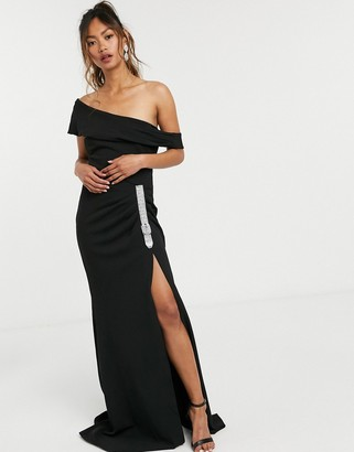 Goddiva bardot buckle detail maxi dress in black