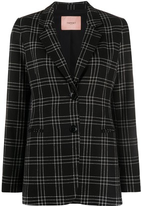 Twin-Set Check Pattern Long Sleeve Blazer