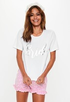 Thumbnail for your product : Missguided White Bride Heart Print Frill Shorts Pyjama Set