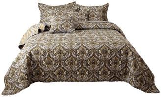 Tache Home Fashion Bohemian Spades Neutral Paisley Damask Quilt Bedspread Set, Queen