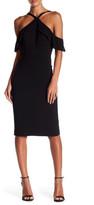 BCBGMAXAZRIA Halter Cold Shoulder Front Ruffle Dress