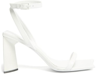 Balenciaga Moon Square-toe Leather Sandals - White