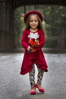 Mia Belle Baby Burgundy Double Tiered Sidetail Tunic & Legging Set (Toddler & Little Girls)