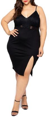 Curvy Sense Lace Top Cami Dress