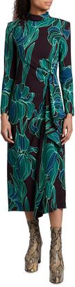 Dries Van Noten Floral-Print Cascading Ruffle Long-Sleeve Midi Dress