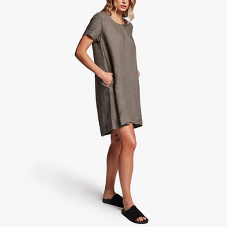 James Perse Linen Back Pleat Shift Dress