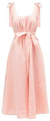 Gül Hürgel Bow-shoulder Linen-jacquard Midi Dress - Womens - Pink