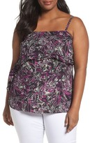 Sejour Plus Size Women's Double Ruffle Camisole Top
