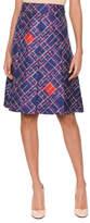 Bottega Veneta Pleated-Front Irregular Check-Print Knee-Length Silk Skirt
