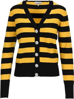 Ganni Cashmere Knit Striped Cardigan