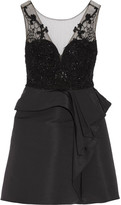 Marchesa Embellished Tulle And Faille Mini Dress - Black