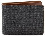 Frank & Oak Wool Tweed & Leather Bill Fold Wallet in Charcoal
