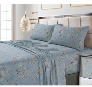 Tribeca Living Colmar Printed 300 Thread Count Cotton Sateen Extra Deep Pocket Sheet Set Queen Sheet Set Bedding