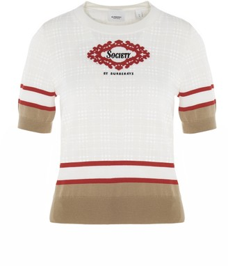 Burberry Short-Sleeved Scarf Detail Knit Top