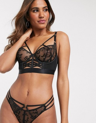 Ann Summers Courageous mesh and strapping detail brazilian briefs in black