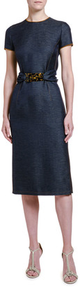 Giorgio Armani Wool Chambray Belted Sheath Dress