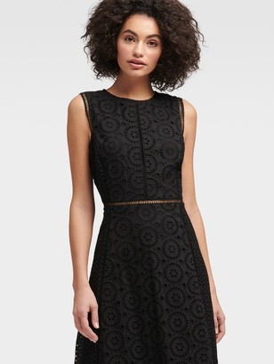 DKNY Women's Sleeveless Eyelet Dress - Black - Size 4