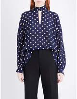 Balenciaga Self-tie polka-dot silk top