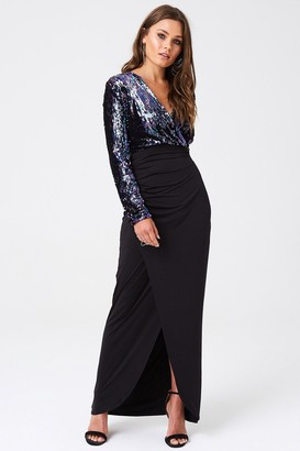 Outrageous Fortune Sequin Top Dress With Thigh Split