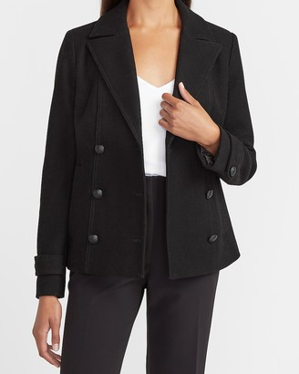 Express Double Breasted Wool-Blend Utility Peacoat