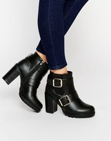Park Lane Buckle Strap Heeled Ankle Boots
