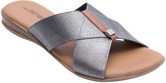Andre Assous Leather Crisscross Flat Slide Sandals